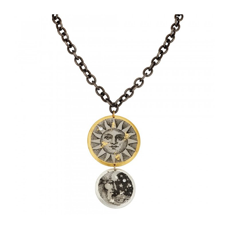 Evocateur Sun and Moon Double Necklace on Gunmetal Chain