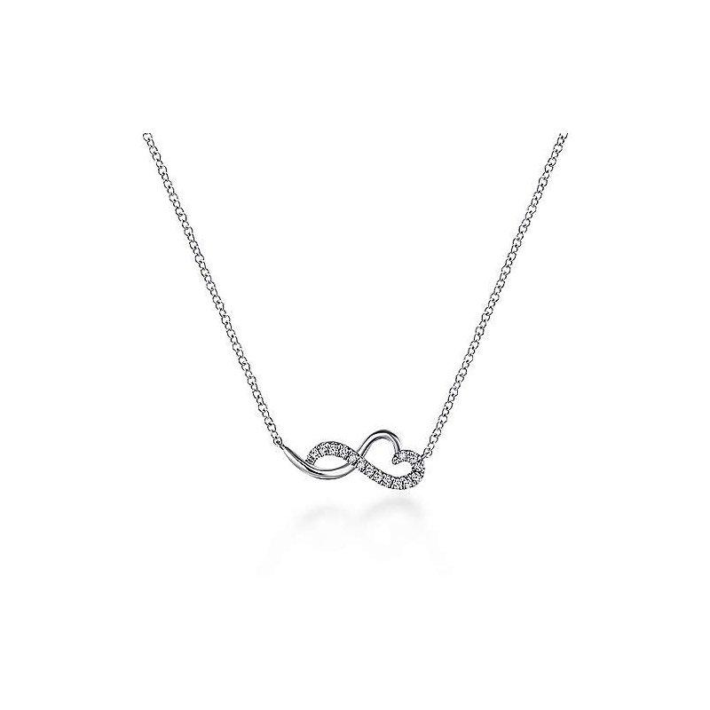 Gabriel Fashion 14K White Gold Diamond Infinity Heart Pendant Necklace