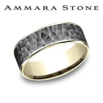 Amara Stone - Tantalum & Yellow Gold Hammered Band