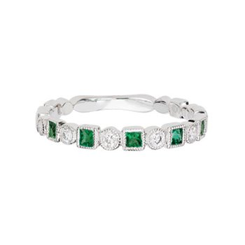 Emerald and Diamond Stackable Band