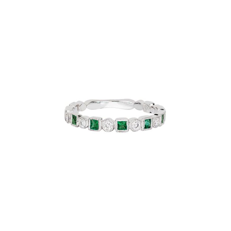 Lasker Gemstone Emerald and Diamond Stackable Band