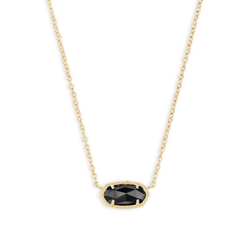 Kendra Scott Elisa Gold Pendant Necklace In Black Opaque Glass