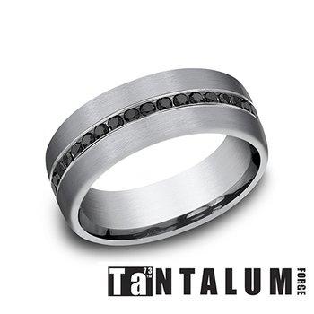 7.5mm Tantalum Band - Black Diamonds