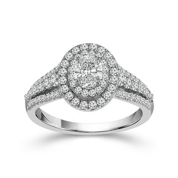Oval Double Halo Ring - 1/2ct Center