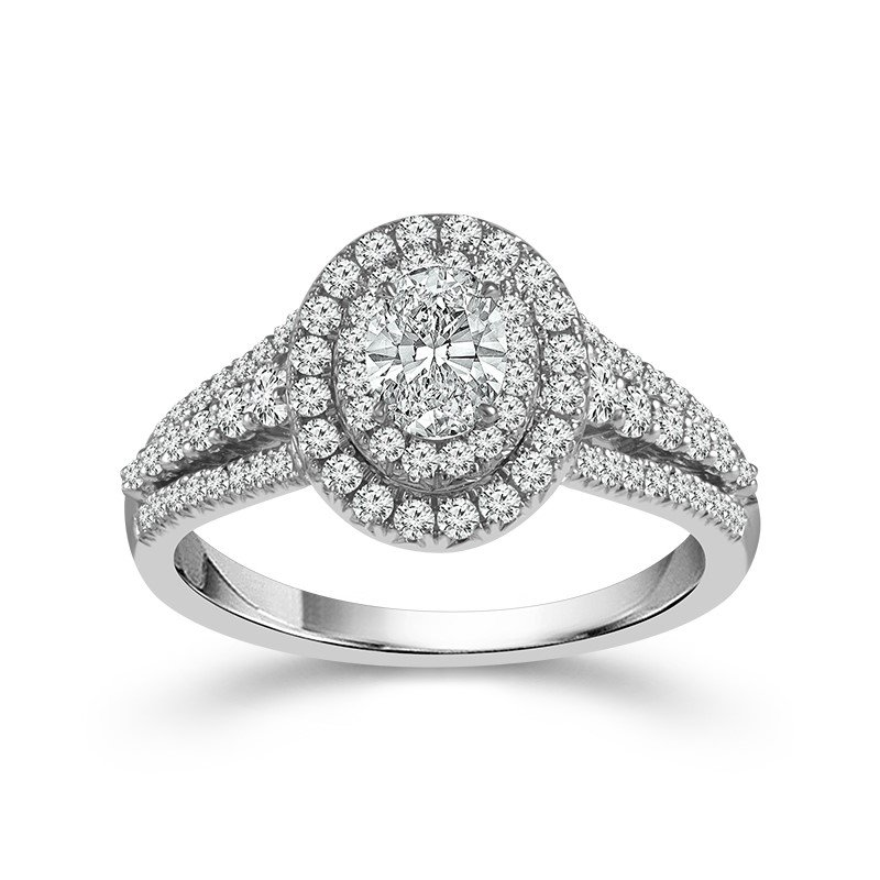 Lasker Bridal Oval Double Halo Ring - 1/2ct Center
