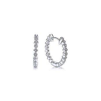 14K White Gold Huggie Alternating Square & Round Diamond Huggie Earrings