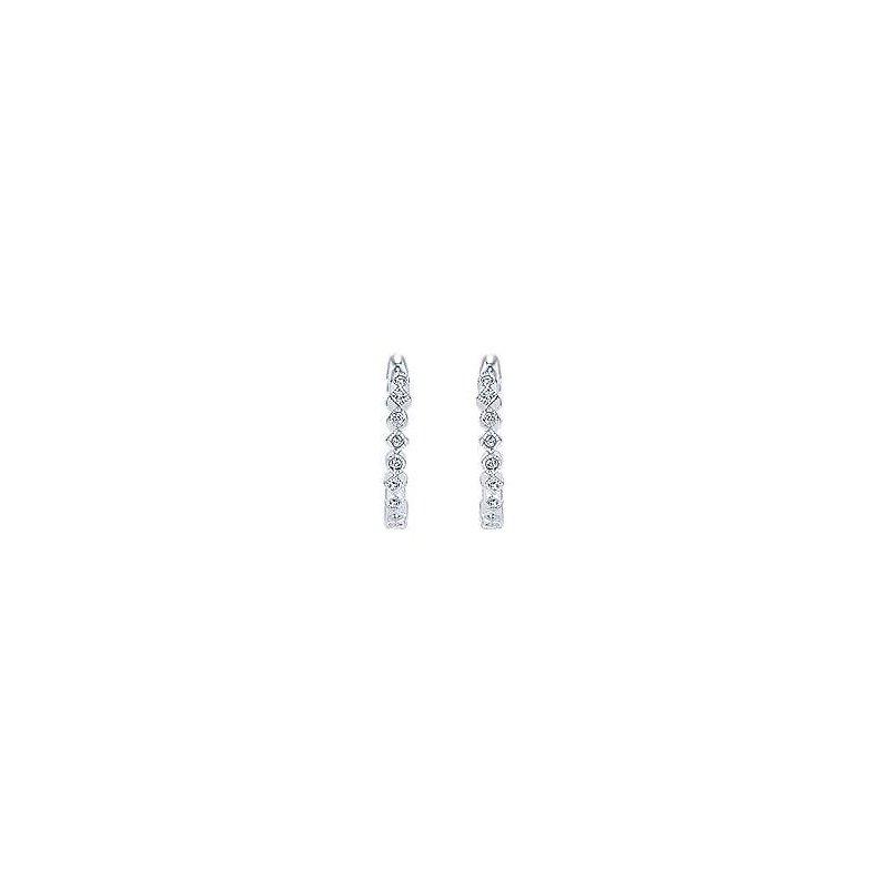 Gabriel Fashion 14K White Gold Huggie Alternating Square & Round Diamond Huggie Earrings