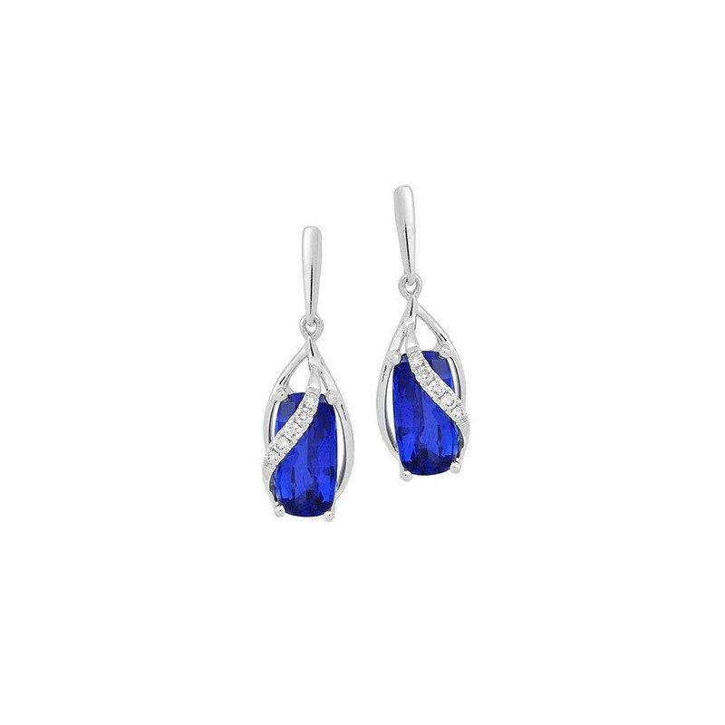 Lasker Gemstone Chatham Blue Sapphire Earrings