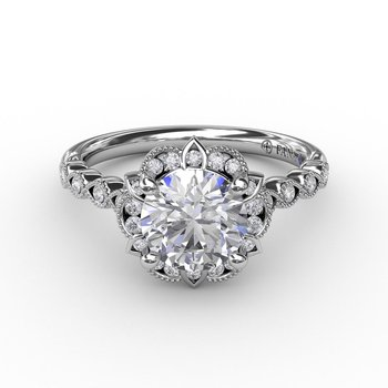 Vintage Style Miligrain Engagement Ring Mounting
