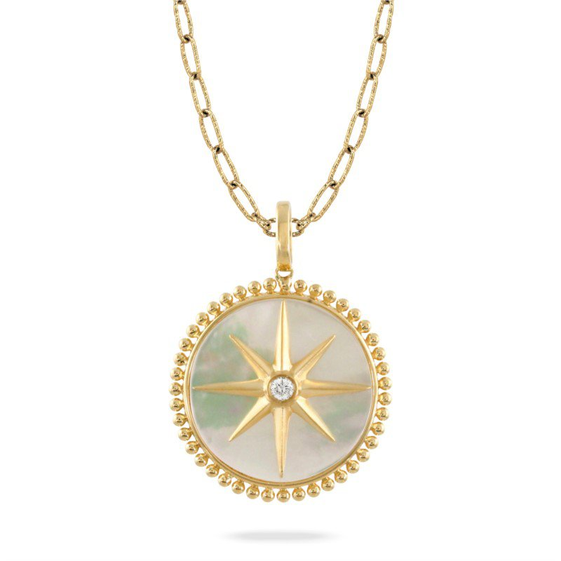 Lasker Gemstone Compass Rose Pendant