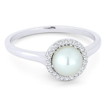Pearl Halo Ring In White Gold