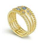 Gabriel Fashion 14K Yellow Gold Swiss Blue Topaz and Diamond Multi Row Ring