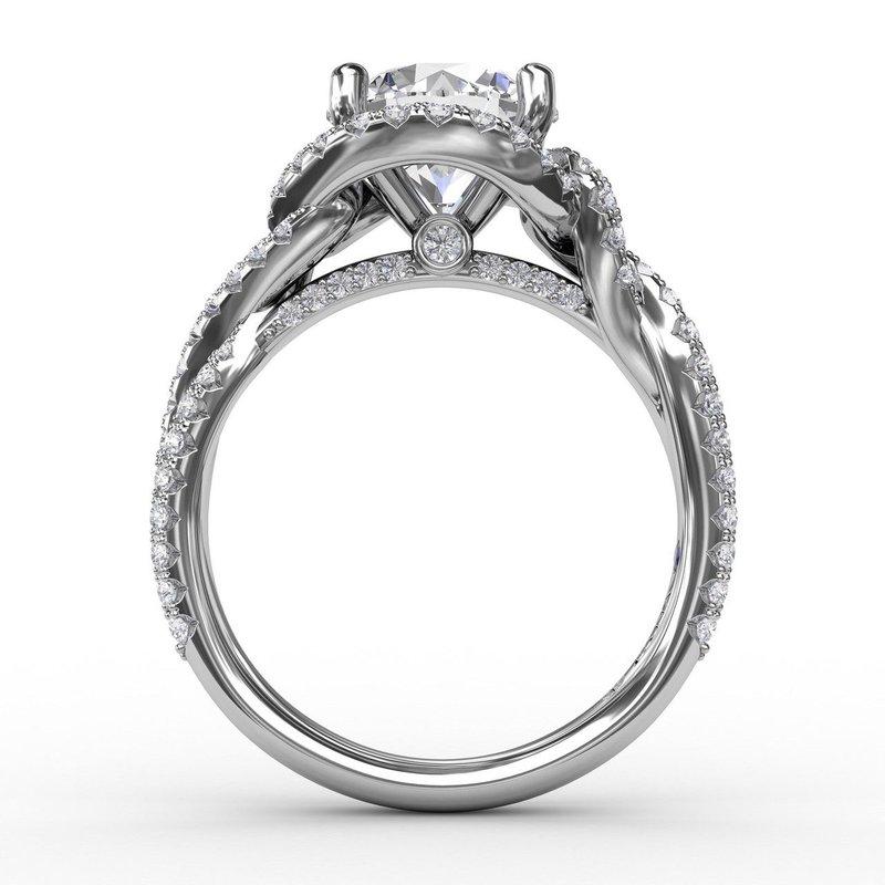 Fana Twisting Diamond Halo Engagement Ring Mounting
