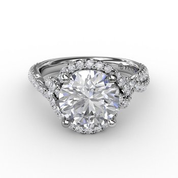 Twisting Diamond Halo Engagement Ring Mounting