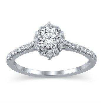 Tiara Halo Engagement Ring - 3/4ct Center Diamond