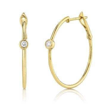 One and Only Bezel Diamond Hoop Earrings