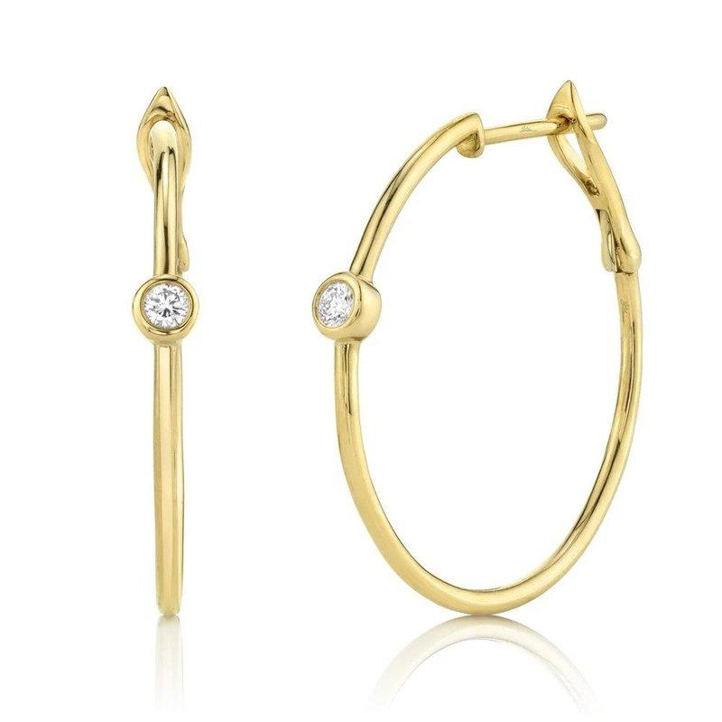 Lasker Diamond Fashion One and Only Bezel Diamond Hoop Earrings