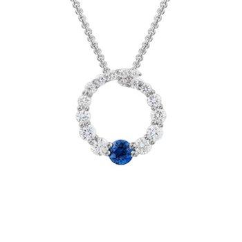 Cutout Diamond Circle Pendant with one Sapphire