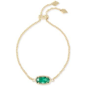 Elaina Adjustable Chain Bracelet With Emerald Cats Eye