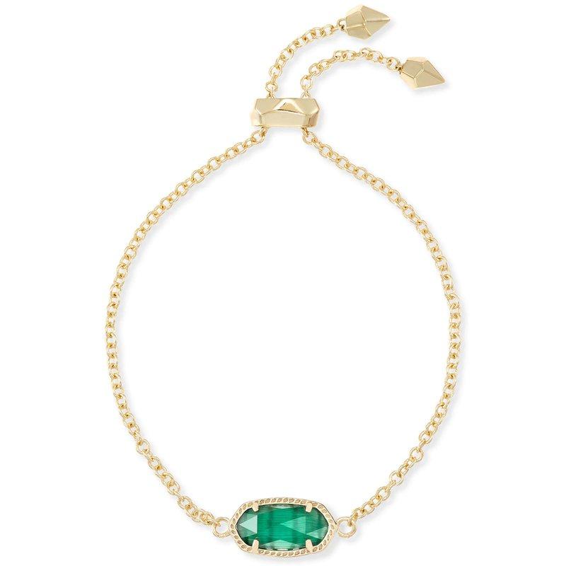 Kendra Scott Elaina Adjustable Chain Bracelet With Emerald Cats Eye