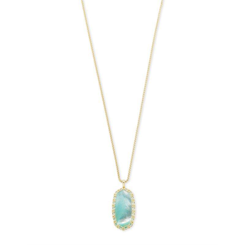 Kendra Scott Macrame Reid Gold Long Pendant Necklace In Aqua Illusion