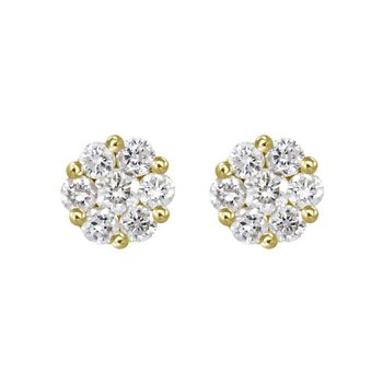 Tiny Diamond Cluster Earrings