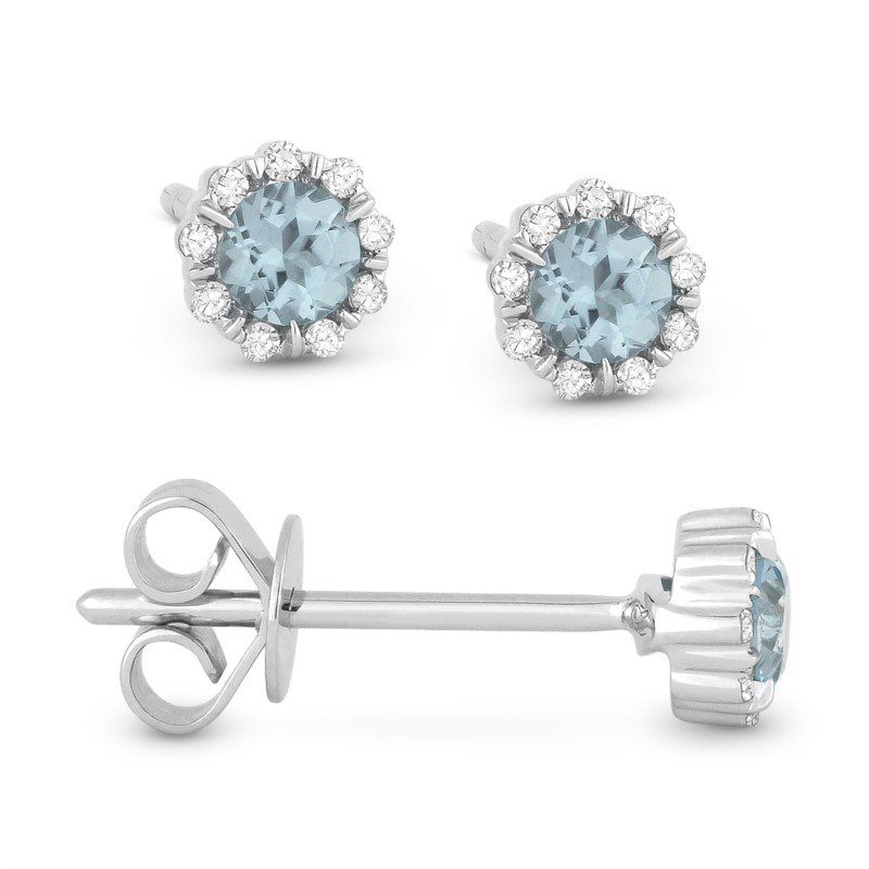 Lasker Gemstone Center of my world Aquamarine Halo Earrings