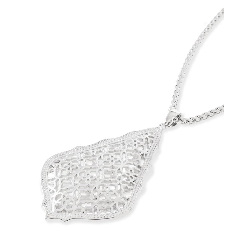Kendra Scott Aiden Silver Long Pendant Necklace In Silver Filigree Mix