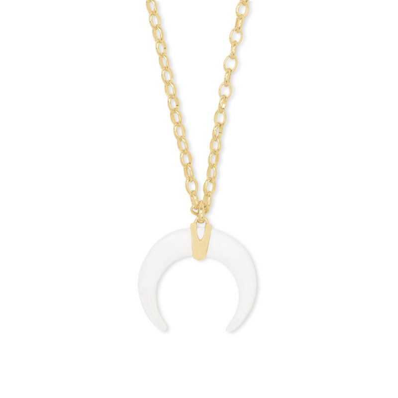 Kendra Scott Rebecca Gold Large Long Pendant Necklace In White Mussel