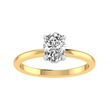 Secret Halo Solitaire Ring - 3/4ct Oval Center Diamond