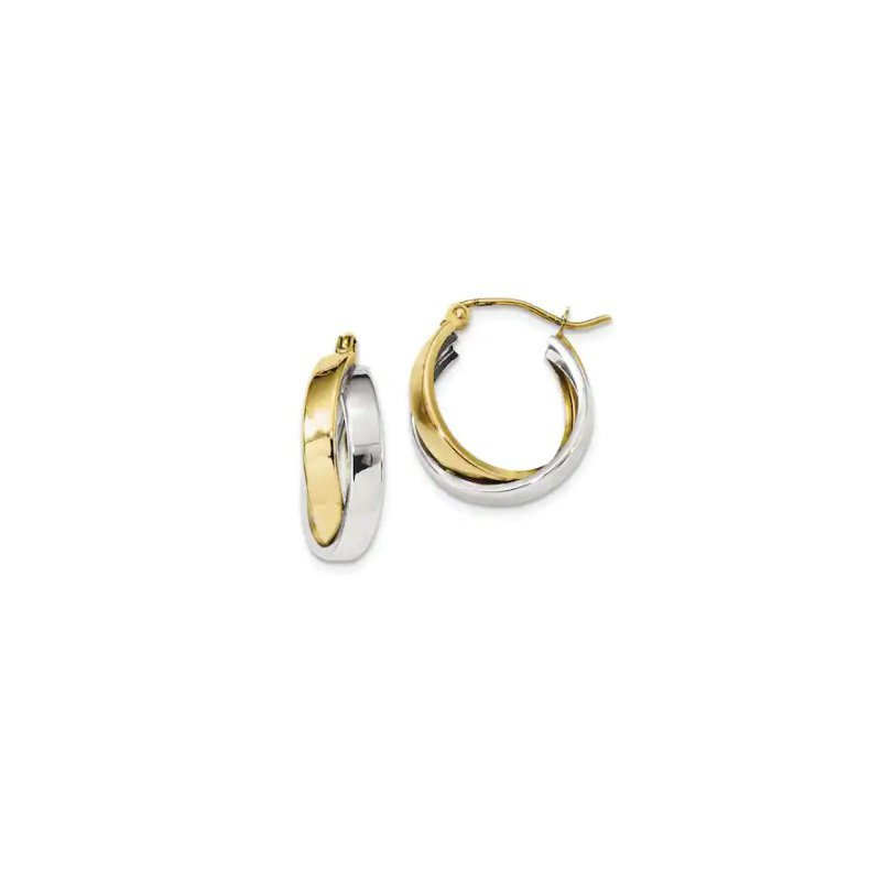 Lasker Gold Fashion 12mm Two-Tone Hoops
