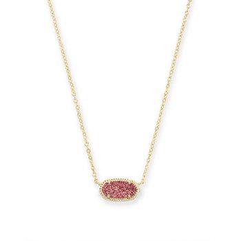 Elisa Gold Pendant Necklace In Raspberry Drusy