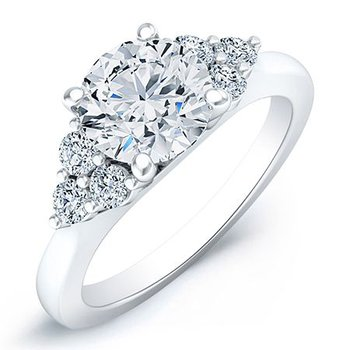 Classic Trio Accent Diamond Ring - 3/4ct Round Center Diamond