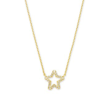 Kendra Scott Jae Star Crystal Pendant Necklace In Yellow with White Crystal