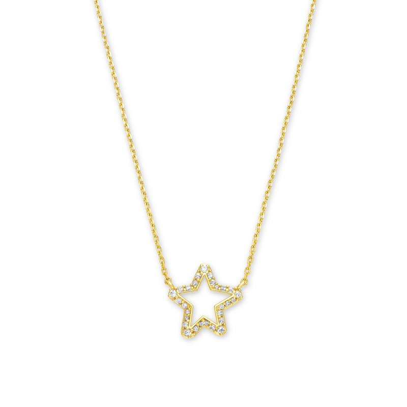 Kendra Scott Kendra Scott Jae Star Crystal Pendant Necklace In Yellow with White Crystal