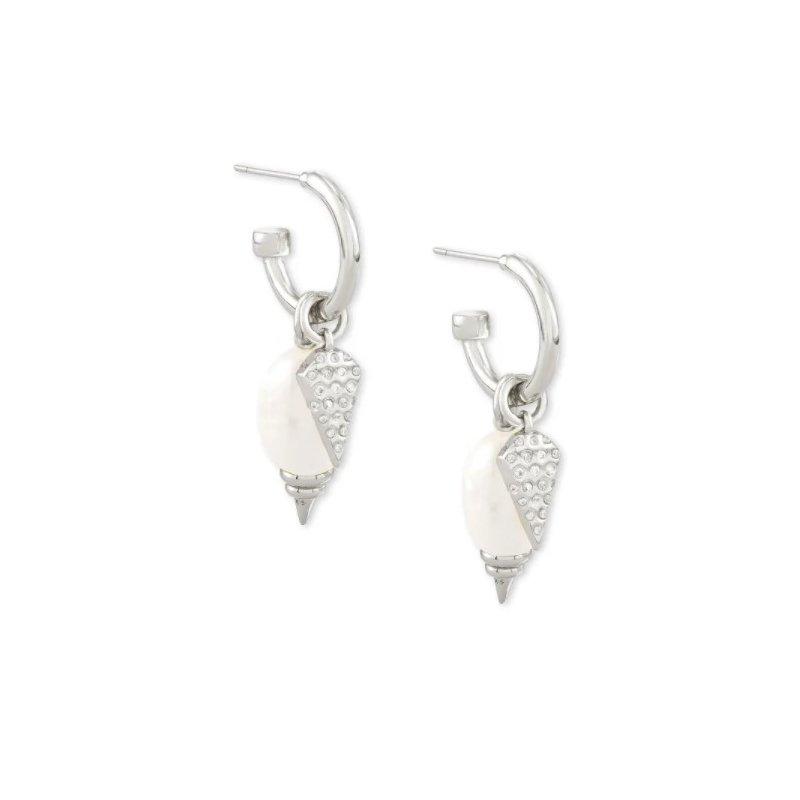 Kendra Scott Demi Silver Huggie Earrings In White Baroque Pearl