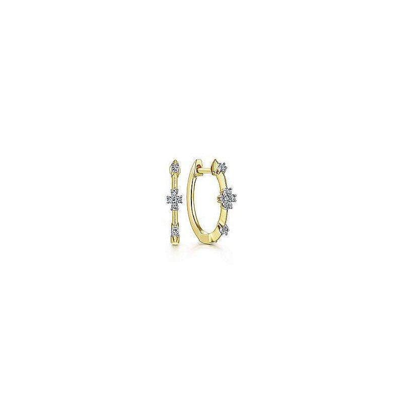 Gabriel Fashion 14K Yellow Gold 15mm Diamond Station Huggie Earrings