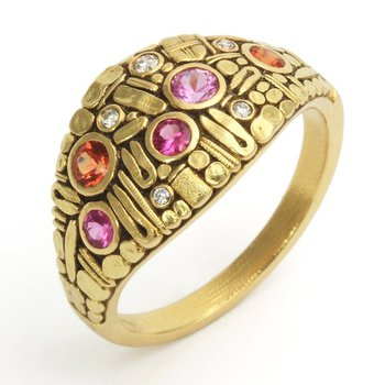 Curious 18kt gold Dome Ring in Fire Color Palette