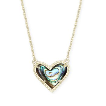Ari Heart Gold Pendant Necklace In Abalone Shell