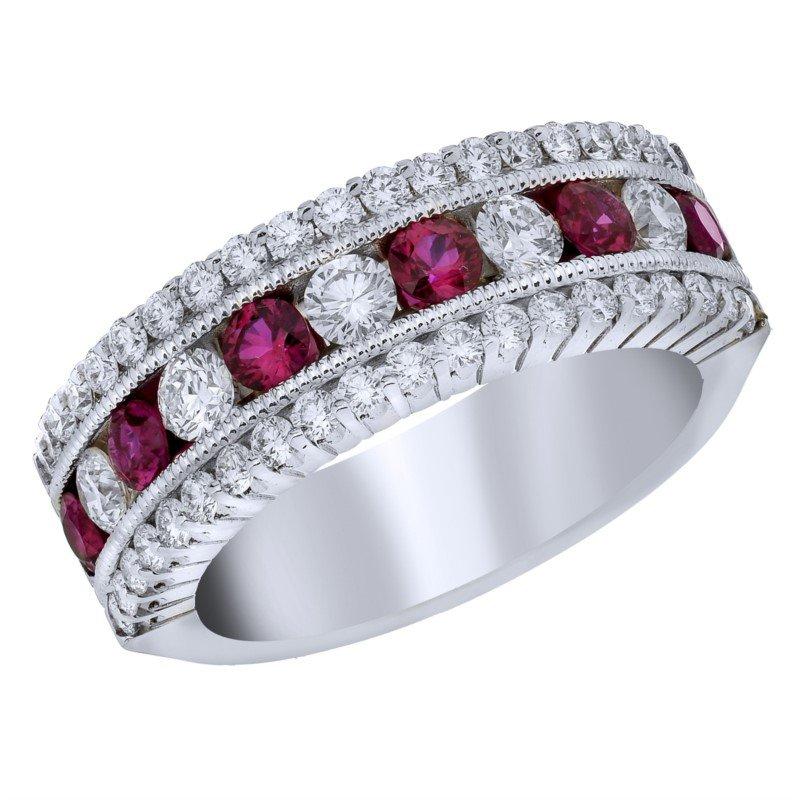 Lasker Gemstone Ruby & Diamond Anniversary Ring
