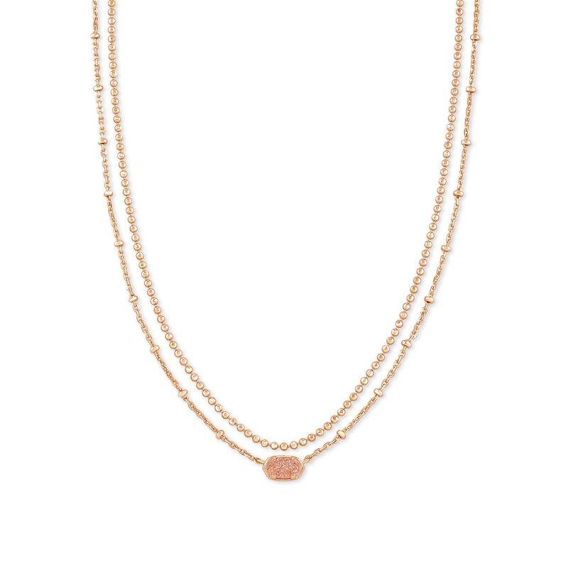 Kendra Scott Kendra Scott Emilie Multi Strand Necklace Rose Gold Sand Drusy