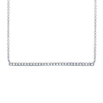 Diamond Bar Necklace - White Gold