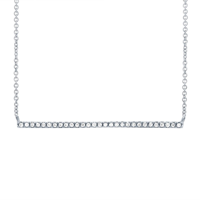 Lasker Diamond Fashion Diamond Bar Necklace - White Gold