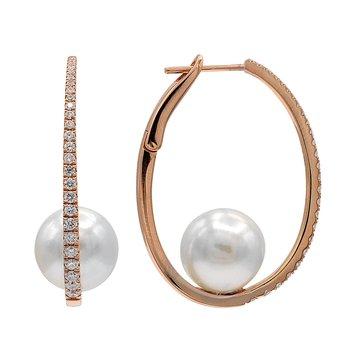 Diamond & Pearl Hoop Earrings