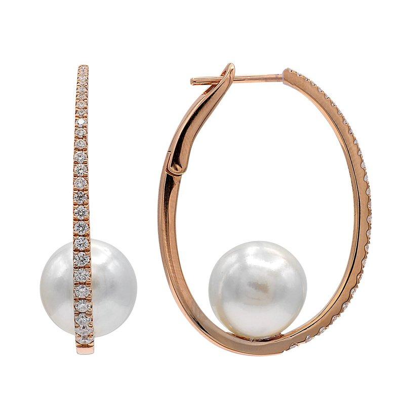 Lasker Pearl Fashion Diamond & Pearl Hoop Earrings
