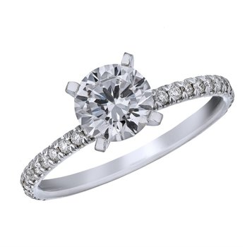Classic Pave Engagement Ring Mounting for a Round Center