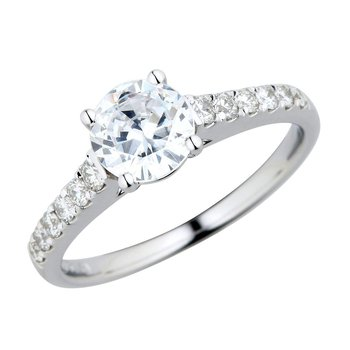 Platinum Nouveau Ring - 1ct Center Diamond
