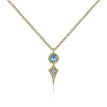 14K Yellow Gold Round Blue Topaz and Kite Diamond Pendant Necklace