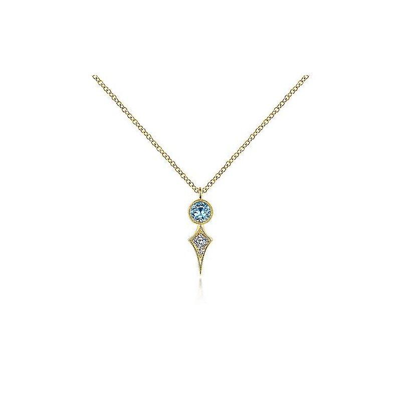 Gabriel Fashion 14K Yellow Gold Round Blue Topaz and Kite Diamond Pendant Necklace