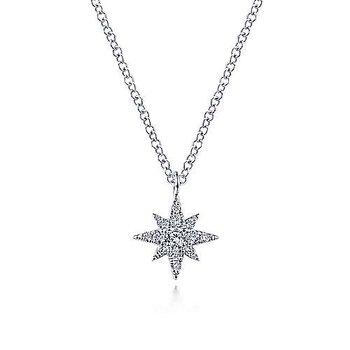 14K White Gold Diamond Pavé Star Pendant Necklace
